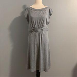 BCBGeneration Gray Boatneck Knee Length Dress Sz L